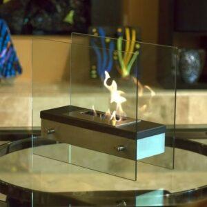 Fyrkantig etanolkamin till bord, bokhylla eller golv