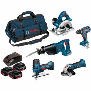 Bosch 0615990K6N Verktygspaket med väska, 3 st 4,0Ah batterier och laddare