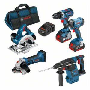 Bosch 0615990K9J Verktygspaket med väska, 3 st 5,0Ah batterier och laddare